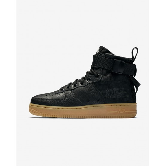 Nike SF Air Force 1 Mid Lifestyle Shoes Womens Black/Gum Light Brown AA3966-002