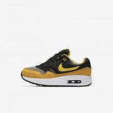Nike Air Max 1 Lifestyle Shoes For Boys Dark Stucco/Black/Mineral Yellow/Vivid Sulfur 807603-007