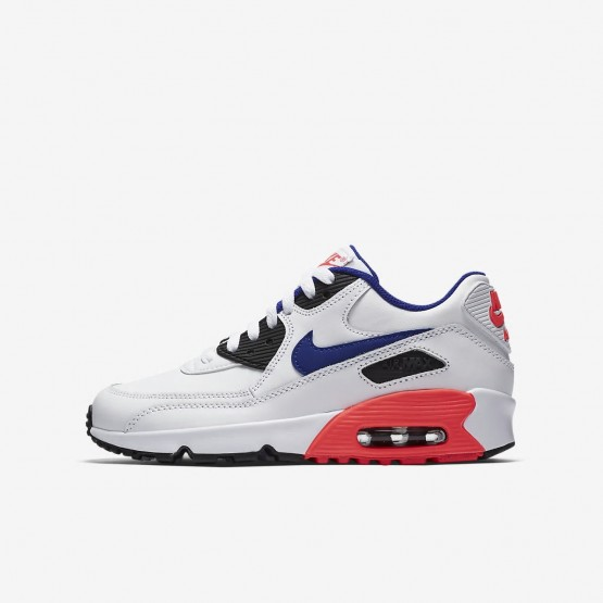 Nike Air Max 90 Leather Lifestyle Shoes Boys White/Solar Red/Black/Ultramarine 833412-112