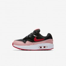 Nike Air Max 1 QS Lifestyle Shoes Girls Black/Bleached Coral/Speed Red AO1027-001