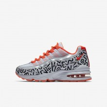 Nike Air Max 95 Lifestyle Shoes For Boys White/Black/Bright Crimson AH3808-100