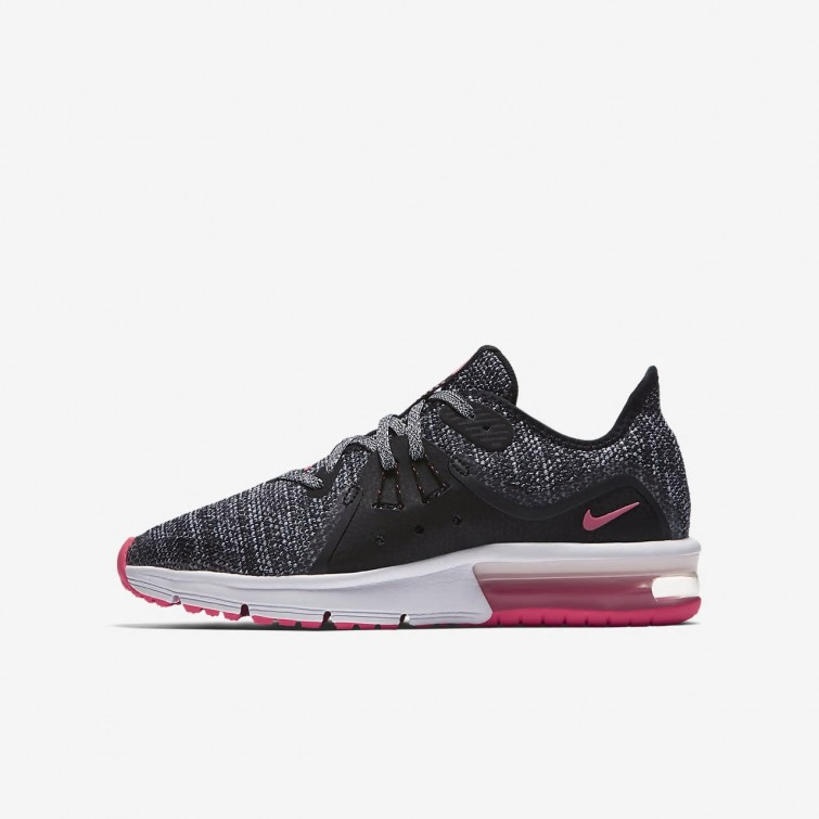 3be6bb271d6 Nike Air Max Sequent 3 Running Shoes Girls Black Anthracite Cool Grey Racer