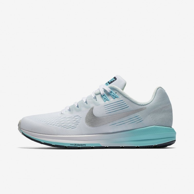e87bba0f2039 Nike Air Zoom Structure 21 Running Shoes Womens White Glacier  Blue Polarized Blue
