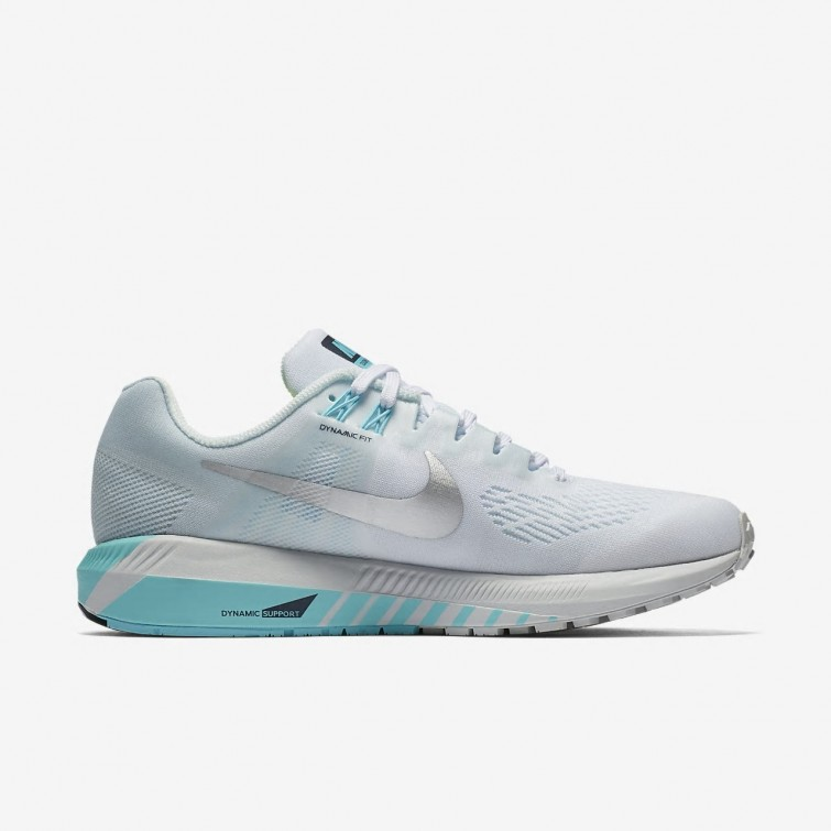 02fbce58a3e81 ... Nike Air Zoom Structure 21 Running Shoes Womens White Glacier Blue Polarized  Blue  ...