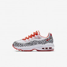 Nike Air Max 95 QS Lifestyle Shoes Boys White/Black/Bright Crimson AQ0905-100