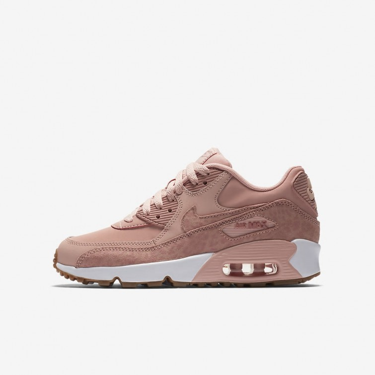 399955e2a73d Nike Air Max 90 SE Leather Lifestyle Shoes Girls Coral Stardust White Gum  Light