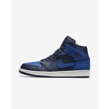 Nike Air Jordan 1 Mid Lifestyle Shoes Mens Obsidian/Summit White/Game Royal 554724-412