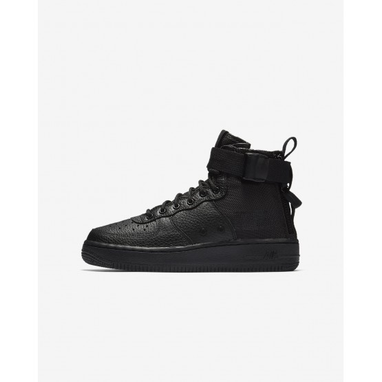 Nike SF Air Force 1 Mid Lifestyle Shoes Boys Black AJ0424-003