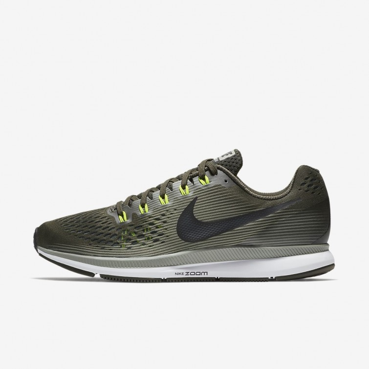 8e622649e8a31 Nike Air Zoom Pegasus 34 Running Shoes Mens Sequoia Dark Stucco Volt Black