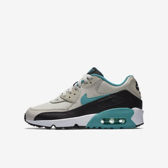 Chaussure Casual Nike Air Max 90 Leather Garcon Clair Noir/Blanche/Turquoise 833412-019