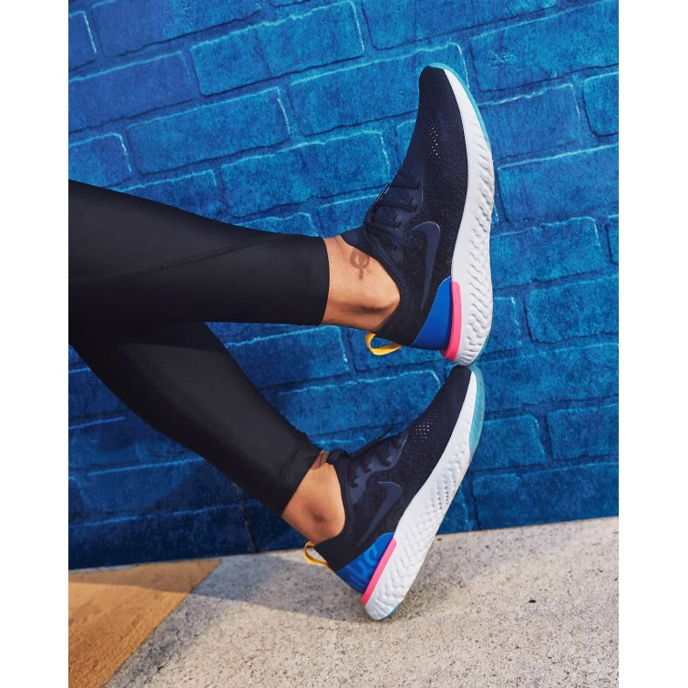 59a1a3f02fa5 ... Nike Epic React Flyknit Running Shoes Womens College Navy Racer  Blue Pink Blast AQ0070 ...