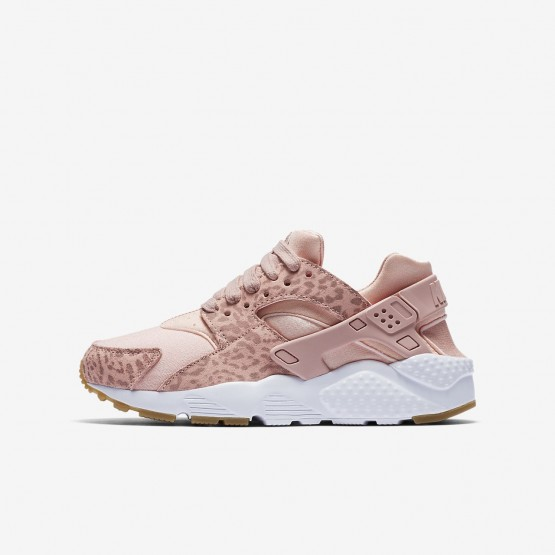 Nike Huarache SE Lifestyle Shoes Girls Coral Stardust/Gum Light Brown/White/Rust Pink 904538-603