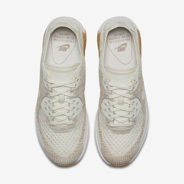 pretty nice 35979 c5595 ... Nike Air Max 90 Ultra 2.0 Flyknit Lifestyle Shoes Womens Sail Sand Gum  Yellow ...