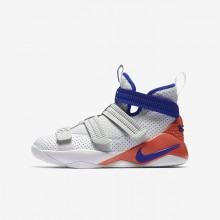 Nike LeBron Soldier XI SFG Basketball Shoes Boys White/Infrared/Pure Platinum/Racer Blue AJ5123-101