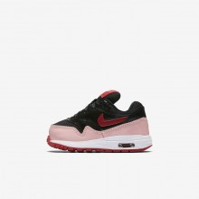 Nike Air Max 1 Lifestyle Shoes For Girls Black/Bleached Coral/Speed Red AO1028-001