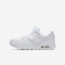 Nike Air Max 1 Lifestyle Shoes Boys White/Metallic Silver 807602-100