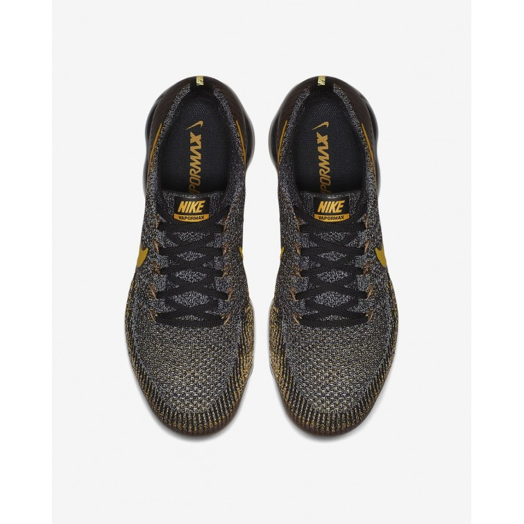 finest selection 30bbd 25cf1 ... Nike Air VaporMax Flyknit Running Shoes Mens Black/Dark Grey/Mineral  Gold 849558- ...