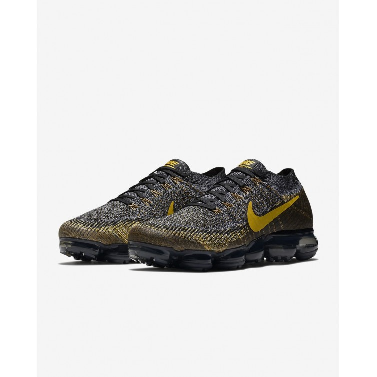 0d14a9dc664e ... Nike Air VaporMax Flyknit Running Shoes Mens Black Dark Grey Mineral  Gold 849558-