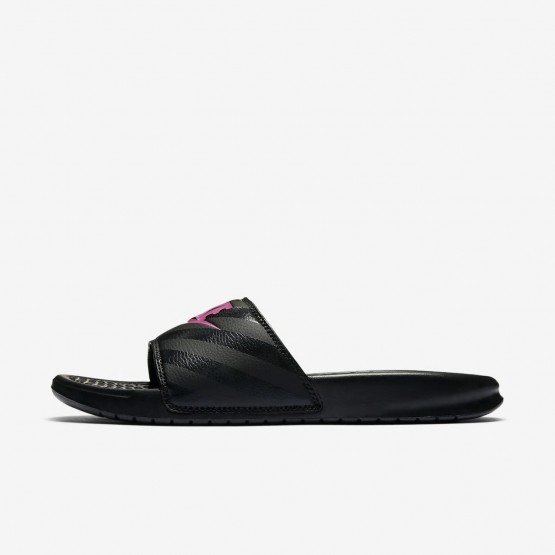 Nike Benassi Lifestyle Shoes Womens Black/Vivid Pink 343881-061