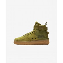 Nike SF Air Force 1 Mid Lifestyle Shoes Boys Desert Moss/Gum Medium Brown/Black AJ0424-300