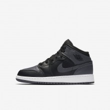 Nike Air Jordan 1 Lifestyle Shoes For Boys Black/Summit White/Dark Grey 554725-041
