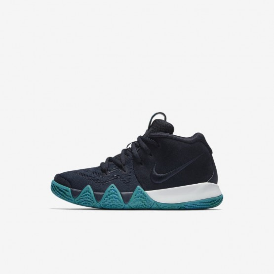 3761239944bd Nike Kyrie 4 Basketball Shoes For Girls Dark Obsidian Black AA2898-401
