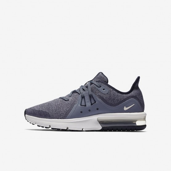 Nike Air Max Sequent Running Shoes For Boys Obsidian/Dark Obsidian/White/Metallic Dark Grey 922884-400