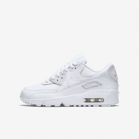 Nike Air Max 90 Leather Lifestyle Shoes Boys White 833412-100