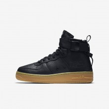 Nike SF Air Force 1 Mid Lifestyle Shoes Boys Black/Gum Light Brown AJ0424-001