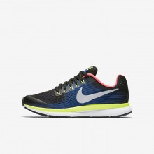 Nike Zoom Pegasus 34 Running Shoes Boys Black/Volt/Racer Blue/Chrome 881953-005