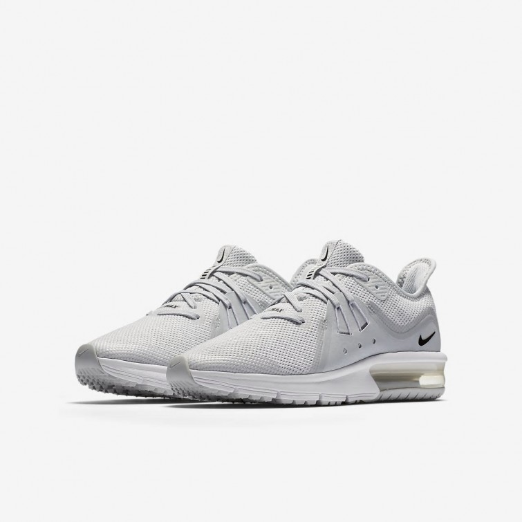 big sale 72d4e 6cbcd ... Chaussure Running Nike Air Max Sequent 3 Garcon Platine Blanche Grise Noir  922884