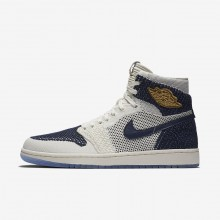 Nike Air Jordan 1 Retro High Flyknit Jeter Lifestyle Shoes Mens Sail/Midnight Navy/Metallic Gold AH7233-105
