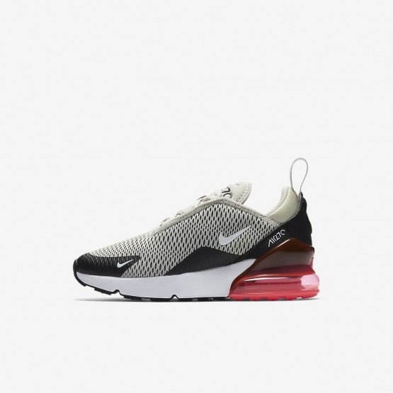 Nike Air Max 270 Lifestyle Shoes Boys Light Bone/Black/Hot Punch/White AO2372-002