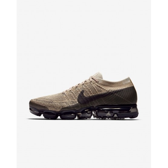 Nike Air VaporMax Flyknit Running Shoes Mens Khaki/Anthracite/Pale Grey/Black 849558-201