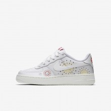 Nike Air Force 1 Lifestyle Shoes For Boys Summit White/Habanero Red/Kinetic Green AJ4234-100