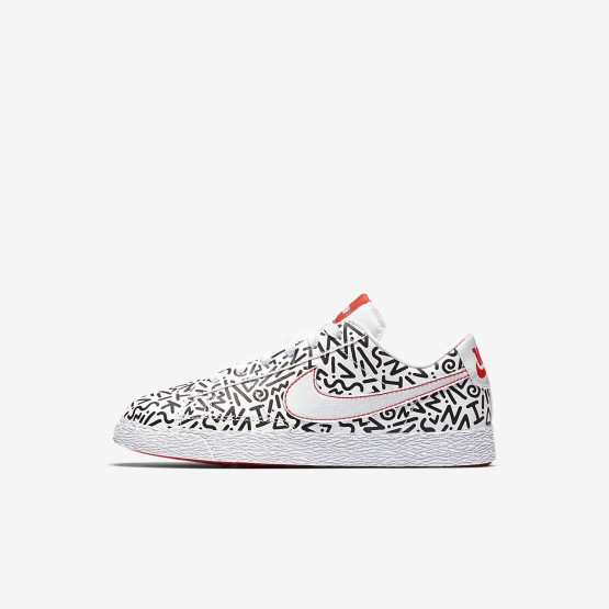 Nike Blazer Low QS Lifestyle Shoes Boys White/Black/Bright Crimson AO1034-100