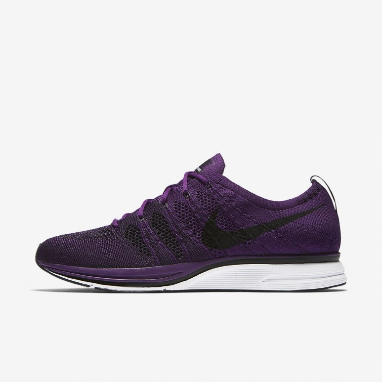 best authentic 084f3 e5aec Chaussure Casual Nike Flyknit Trainer Homme Violette Blanche Noir AH8396-500