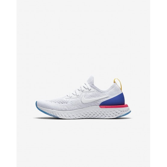Nike Epic React Flyknit Running Shoes Boys White/Racer Blue/Pink Blast 943311-101