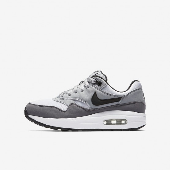Nike Air Max 1 Lifestyle Shoes For Boys White/Wolf Grey/Gunsmoke/Black 807602-108