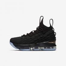Nike LeBron 15 Basketball Shoes Boys Black/Metallic Gold 922811-006