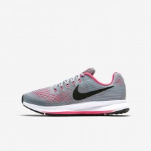 Nike Zoom Pegasus 34 Running Shoes Girls Wolf Grey/Cool Grey/Racer Pink/Black 881954-001