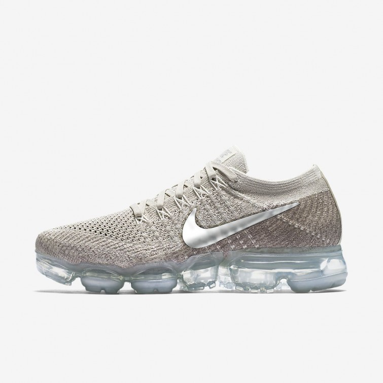 9d7e71ffbd05 Nike Air VaporMax Flyknit Running Shoes Womens String Sunset Glow Taupe  Grey Chrome