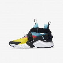 Nike Huarache City Lifestyle Shoes Boys Tour Yellow/Bleached Aqua/Racer Pink/Anthracite AJ6662-700