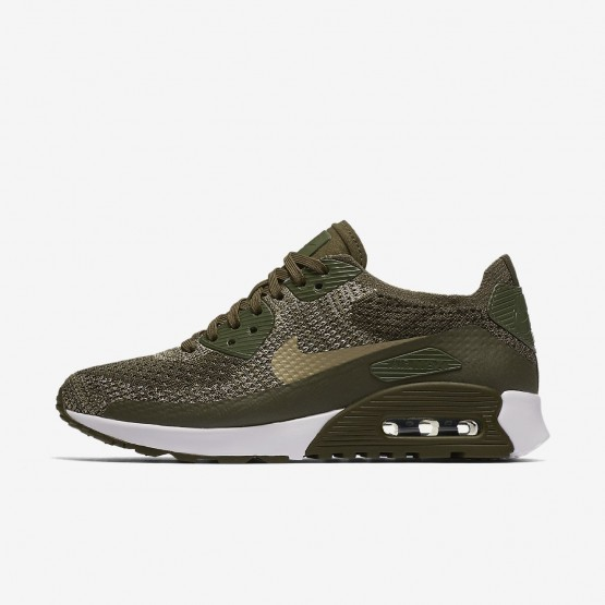 Nike Air Max 90 Ultra 2.0 Flyknit Lifestyle Shoes Womens Cargo Khaki/White/Neutral Olive 881109-300