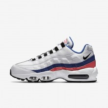 Nike Air Max 95 Essential Lifestyle Shoes Mens White/Solar Red/Ultramarine/Black 749766-106