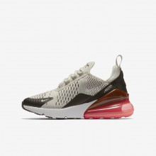 Nike Air Max 270 Lifestyle Shoes Boys Light Bone/Black/Hot Punch/White 943345-002