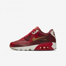 Nike Air Max 90 Leather Lifestyle Shoes Boys Game Red/Team Red/Sail/Elemental Gold 833412-602
