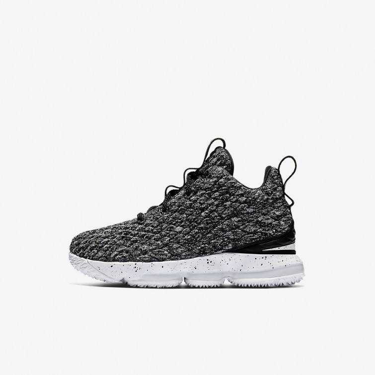 e49e3ee54f8 Nike LeBron 15 Basketball Shoes Boys Black White 922812-002