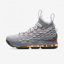 Nike LeBron 15 Basketball Shoes For Boys Black/Dark Grey/Wolf Grey/Safety Orange 922811-080
