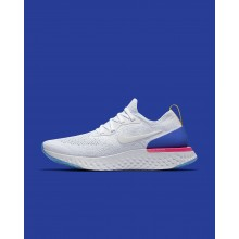 Nike Epic React Flyknit Running Shoes For Women White/Racer Blue/Pink Blast AQ0070-101